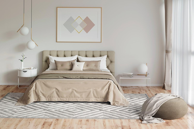 Camera da letto in stile dominant white