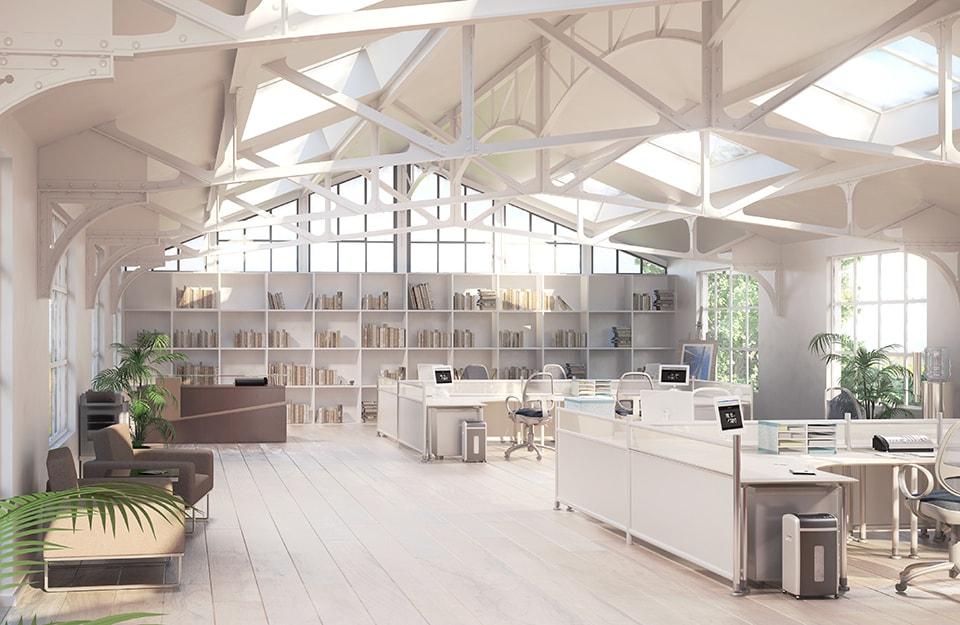 Grande open space con parquet per ufficio